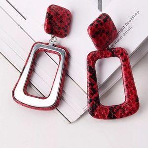 Jewelry - Trendy Snake Print Earrings Red